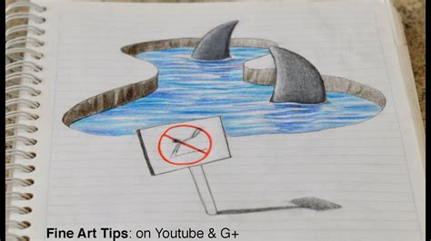 Drawing 3D Sharks on my Notebook! - 3D Anamorphic Drawing