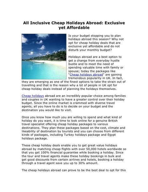 All inclusive cheap holidays abroad exclusive yet affordable
