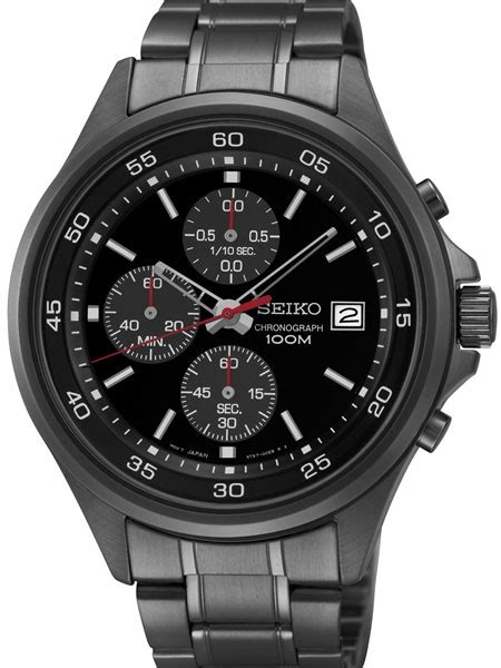 Seiko Chronograph Watch with 43mm Black Ion Stainless