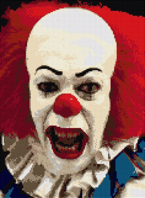 """Pennywise """"IT"""" Clown Cross Stitch Kit Film Character 9""""x11"""