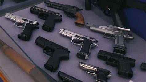 Showcase with Guns Stock Footage Video (100% Royalty-free